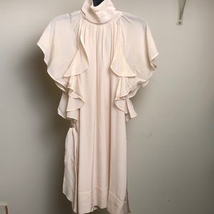 French connection dress beige , silk,ruffle neck